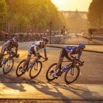 cyclists take part in the final stage of the Tour de France