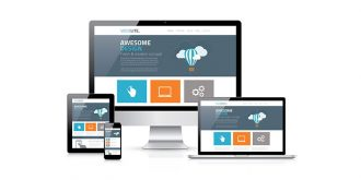 blue and orange responsive web design
