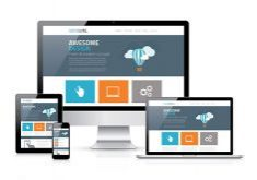 blue and orange responsive web design